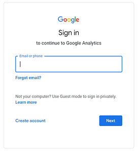 Google Analytics Signup
